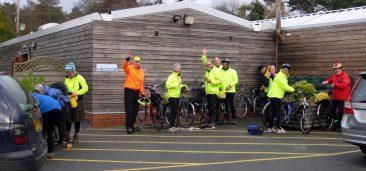 Rhodri Hughes-Jones  (orange jacket) died enjoying what he loved.- cycling with friends.Fron Goch Garden Centre