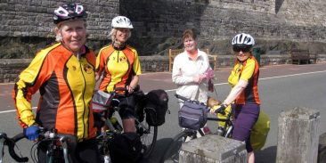 Caernarfon. A favoured stopping place for these touring cyclists from Stroud, Somerset