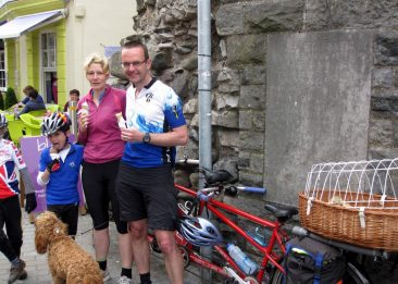 Caernarfon.  Tandem Club Rally.  Triplet cycle -plus the family dog.