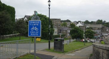 Conwy quayside.  Accessible for all classes of vehicle and a safe route to school.  A crazy sign for a crazy message.