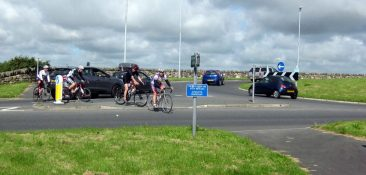 Lon Eifion.  Goat roundabout. Already tricky for cyclists