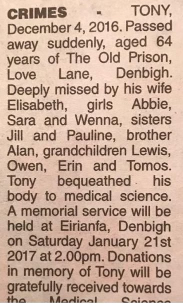 Tony Crimes obituary