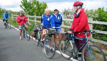 Brian McManus meets fellow CTC members at Llanddulas.