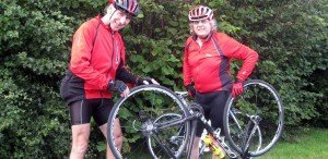 Chris Ocego (L) and Stephen Brady (R) find delight even in small things - like punctures!