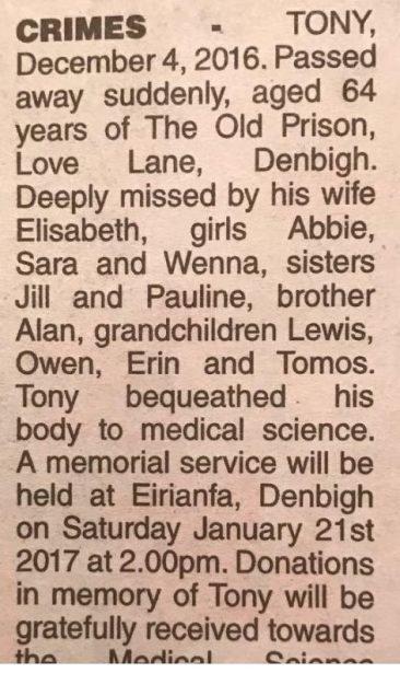 Tony Crimes obituary