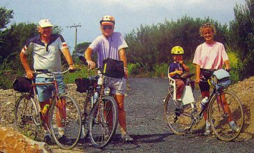 Brian McManus (c) poses for Clwyd CC cycling guide